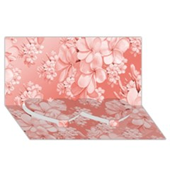 Delicate Floral Pattern,pink  Twin Heart Bottom 3D Greeting Card (8x4)
