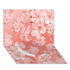 Delicate Floral Pattern,pink  Circle Bottom 3D Greeting Card (7x5)