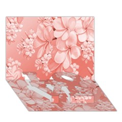 Delicate Floral Pattern,pink  Love Bottom 3d Greeting Card (7x5)