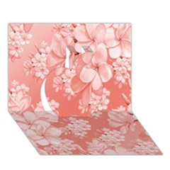 Delicate Floral Pattern,pink  Apple 3D Greeting Card (7x5)