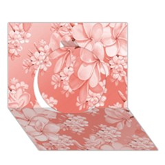 Delicate Floral Pattern,pink  Circle 3d Greeting Card (7x5)