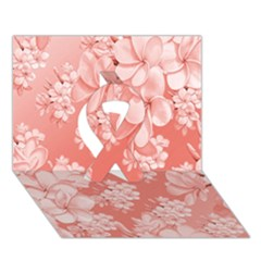 Delicate Floral Pattern,pink  Ribbon 3d Greeting Card (7x5)