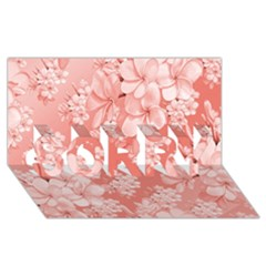 Delicate Floral Pattern,pink  SORRY 3D Greeting Card (8x4)