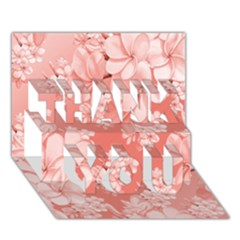 Delicate Floral Pattern,pink  THANK YOU 3D Greeting Card (7x5)