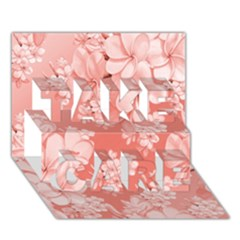 Delicate Floral Pattern,pink  Take Care 3d Greeting Card (7x5)