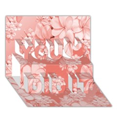 Delicate Floral Pattern,pink  You Did It 3d Greeting Card (7x5)