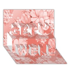 Delicate Floral Pattern,pink  Get Well 3d Greeting Card (7x5)
