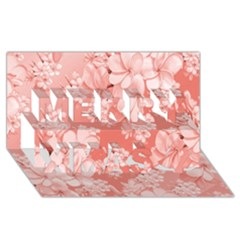 Delicate Floral Pattern,pink  Merry Xmas 3D Greeting Card (8x4)