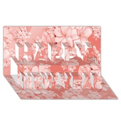 Delicate Floral Pattern,pink  Happy New Year 3D Greeting Card (8x4)