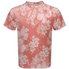 Delicate Floral Pattern,pink  Men s Cotton Tees