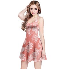 Delicate Floral Pattern,pink  Reversible Sleeveless Dresses