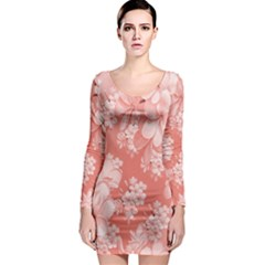 Delicate Floral Pattern,pink  Long Sleeve Bodycon Dresses