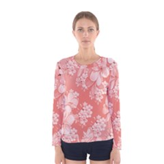 Delicate Floral Pattern,pink  Women s Long Sleeve T-shirts