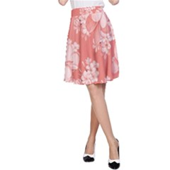 Delicate Floral Pattern,pink  A-Line Skirts
