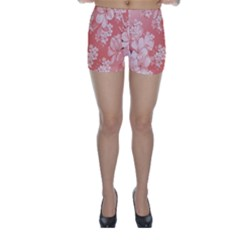 Delicate Floral Pattern,pink  Skinny Shorts