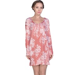 Delicate Floral Pattern,pink  Long Sleeve Nightdresses