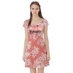 Delicate Floral Pattern,pink  Short Sleeve Skater Dresses