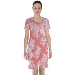 Delicate Floral Pattern,pink  Short Sleeve Nightdresses
