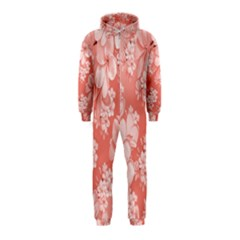 Delicate Floral Pattern,pink  Hooded Jumpsuit (kids)
