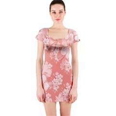 Delicate Floral Pattern,pink  Short Sleeve Bodycon Dresses
