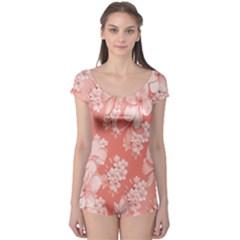 Delicate Floral Pattern,pink  Short Sleeve Leotard