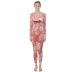 Delicate Floral Pattern,pink  Long Sleeve Catsuit