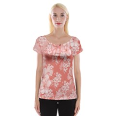 Delicate Floral Pattern,pink  Women s Cap Sleeve Top