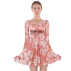 Delicate Floral Pattern,pink  Long Sleeve Skater Dress