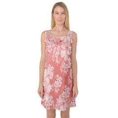 Delicate Floral Pattern,pink  Sleeveless Satin Nightdresses