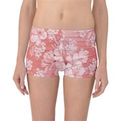 Delicate Floral Pattern,pink  Boyleg Bikini Bottoms