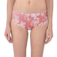 Delicate Floral Pattern,pink  Mid Waist Bikini Bottoms