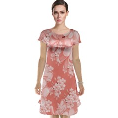 Delicate Floral Pattern,pink  Cap Sleeve Nightdresses