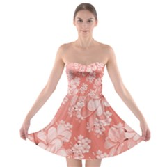 Delicate Floral Pattern,pink  Strapless Bra Top Dress
