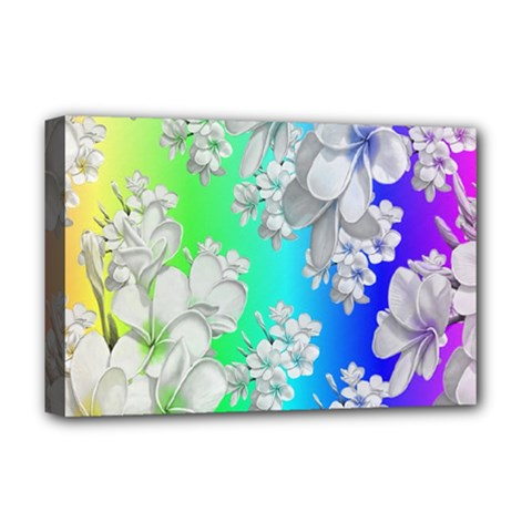 Delicate Floral Pattern,rainbow Deluxe Canvas 18  X 12