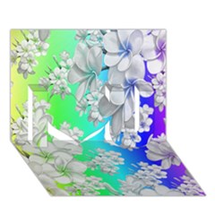 Delicate Floral Pattern,rainbow I Love You 3d Greeting Card (7x5)