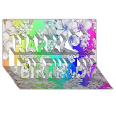 Delicate Floral Pattern,rainbow Happy Birthday 3d Greeting Card (8x4)