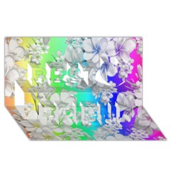 Delicate Floral Pattern,rainbow Best Friends 3d Greeting Card (8x4)