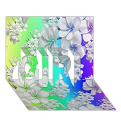 Delicate Floral Pattern,rainbow GIRL 3D Greeting Card (7x5)