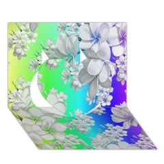 Delicate Floral Pattern,rainbow Heart 3d Greeting Card (7x5)