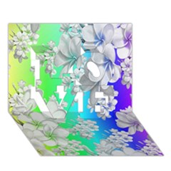 Delicate Floral Pattern,rainbow LOVE 3D Greeting Card (7x5)