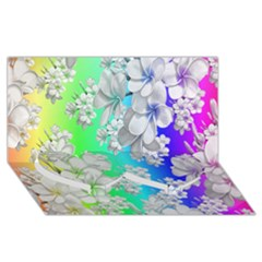 Delicate Floral Pattern,rainbow Twin Heart Bottom 3d Greeting Card (8x4)