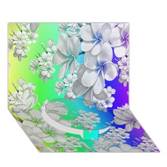 Delicate Floral Pattern,rainbow Circle Bottom 3d Greeting Card (7x5)