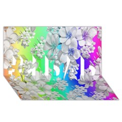 Delicate Floral Pattern,rainbow #1 DAD 3D Greeting Card (8x4)