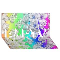 Delicate Floral Pattern,rainbow PARTY 3D Greeting Card (8x4)