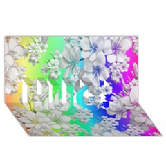 Delicate Floral Pattern,rainbow Hugs 3d Greeting Card (8x4)