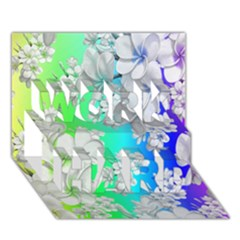 Delicate Floral Pattern,rainbow WORK HARD 3D Greeting Card (7x5)