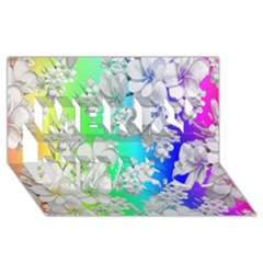Delicate Floral Pattern,rainbow Merry Xmas 3d Greeting Card (8x4)