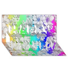 Delicate Floral Pattern,rainbow Happy New Year 3D Greeting Card (8x4)