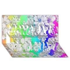 Delicate Floral Pattern,rainbow Congrats Graduate 3D Greeting Card (8x4)