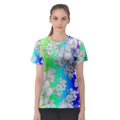 Delicate Floral Pattern,rainbow Women s Sport Mesh Tees